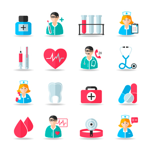 Medical healthcare icons set of heart tooth pill syringe isolated vector and doctor avatars illustraのイラスト素材 [FYI03091595]