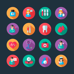 Set of medical healthcare icons and doctor hospital avatars with nurse heart isolated vector illustrのイラスト素材 [FYI03091596]