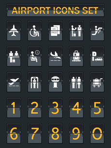 Business airport travel information panel icons set in arrival departure board style vector illustraのイラスト素材 [FYI03091601]