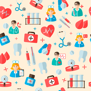 Seamless medical hospital staff and symbols pattern vector illustrationのイラスト素材 [FYI03091607]