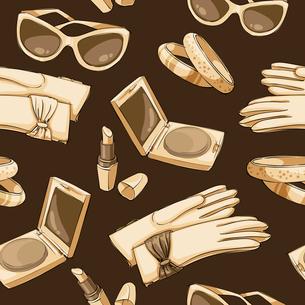 Seamless women fashion accessories wallpaper pattern background vector illustrationのイラスト素材 [FYI03091621]