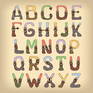Sketch hand drawn colored alphabet with hatch and lozenge ornament font letters isolated vector illuのイラスト素材 [FYI03091625]