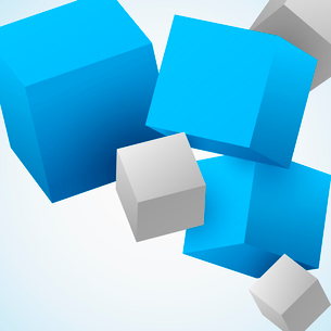 Abstract 3d flying cubes background vector illustrationのイラスト素材 [FYI03091627]