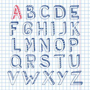 Sketch hand drawn 3d doodle alphabet letters on squared notebook page isolated vector illustrationのイラスト素材 [FYI03091628]
