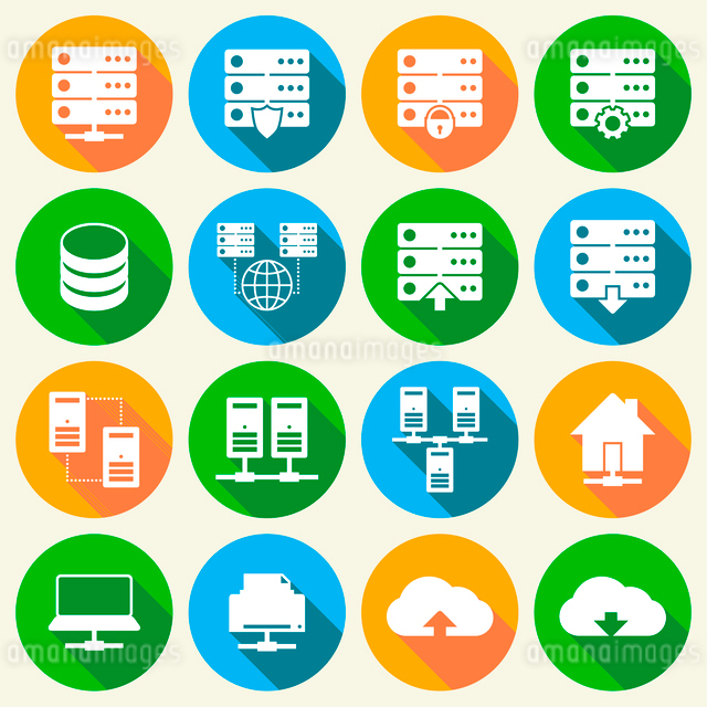 Online internet hosting technology icons set of network server infrastructure data center services iのイラスト素材 [FYI03091630]