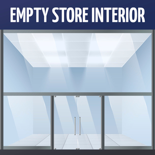 Illuminated empty supermarket or department warehouse store building interior vector illustrationのイラスト素材 [FYI03091631]