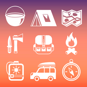 Outdoors tourism camping pictograms collection of compass tent campfire and knife isolated vector ilのイラスト素材 [FYI03091636]