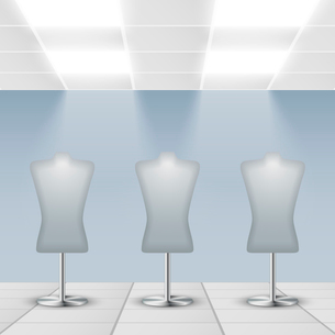 Illuminated department store shop display dress dummies stands vector illustrationのイラスト素材 [FYI03091637]