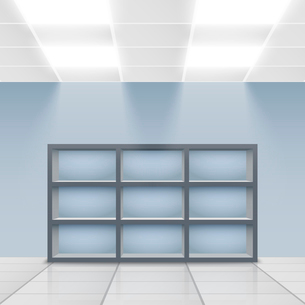 Illuminated department store display empty shelves vector illustrationのイラスト素材 [FYI03091638]
