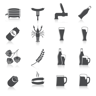 Alcohol beer party icons set of bottle glass mug crayfish and lobster isolated hand drawn sketch vecのイラスト素材 [FYI03091639]