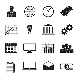 Business flat generic icons set of people teamwork charts graphs and finance isolated vector illustrのイラスト素材 [FYI03091642]