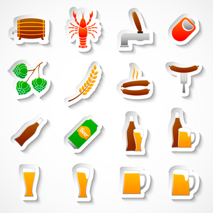 Alcohol beer party stickers set of bottle glass mug crayfish and lobster isolated hand drawn sketchのイラスト素材 [FYI03091651]