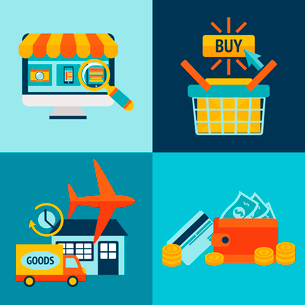 Online shopping business icons set of internet catalog purchase and delivery service vector illustraのイラスト素材 [FYI03091653]