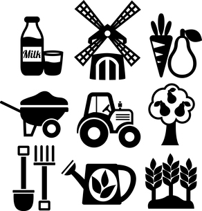 Farming harvesting and agriculture icons set of mill tractor wheelbarrow and spade isolated vector iのイラスト素材 [FYI03091654]