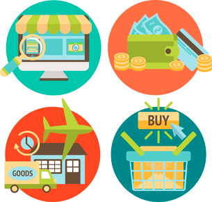 Online shopping business icons set of internet catalog purchase and delivery service vector illustraのイラスト素材 [FYI03091655]
