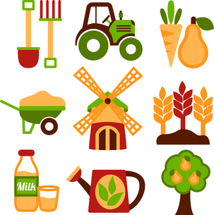 Farming harvesting and agriculture icons set of natural organic fruits and vegetables isolated vectoのイラスト素材 [FYI03091656]