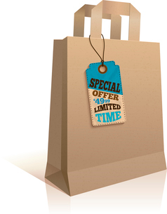 Big carry paper sale shopping bag with special price offer tag template isolated vector illustrationのイラスト素材 [FYI03091658]