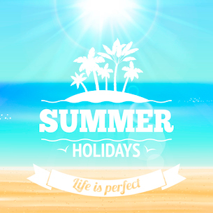 Summer holidays life is perfect background poster with palms sandy beach and sea vector illustrationのイラスト素材 [FYI03091660]