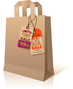 Paper sale shopping bag with promotion special price offer tags template isolated vector illustratioのイラスト素材 [FYI03091661]