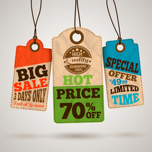 Collection of cardboard sale price tags design templates vector illustrationのイラスト素材 [FYI03091662]