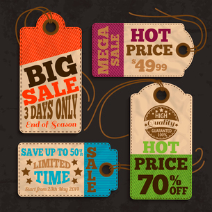 Shopping labels and tags for best price offer or special sale promotion collection vector illustratiのイラスト素材 [FYI03091663]