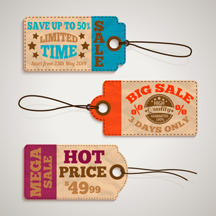 Collection of cardboard sale price tags design templates vector illustrationのイラスト素材 [FYI03091664]