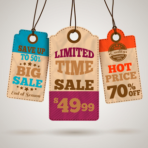 Cardboard sale limited time hot price promotion tags template vector illustrationのイラスト素材 [FYI03091667]