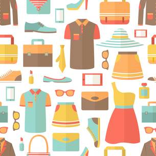 Male and female clothes footwear bags and accessories shopping seamless pattern vector illustrationのイラスト素材 [FYI03091669]