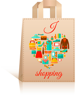 Big carry paper sale shopping bag design template with love heart clothes accessories symbol vectorのイラスト素材 [FYI03091670]