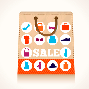 Big carry paper sale shopping bag concept with clothes and accessories icons vector illustrationのイラスト素材 [FYI03091671]