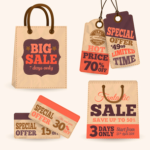 Collection of paper sale price tags with shopping bags design templates vector illustrationのイラスト素材 [FYI03091674]