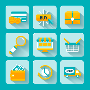 Colored pixel icons set for internet online shopping of delivery box looking glass and money walletのイラスト素材 [FYI03091678]