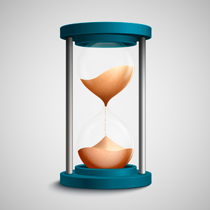 Realistic blue colored hourglass with strewing sand concept template vector illustrationのイラスト素材 [FYI03091681]