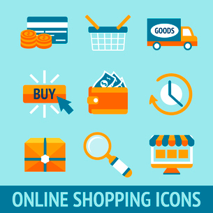Colored pixel icons set for online shopping of wallet delivery truck credit card cash vector illustrのイラスト素材 [FYI03091683]