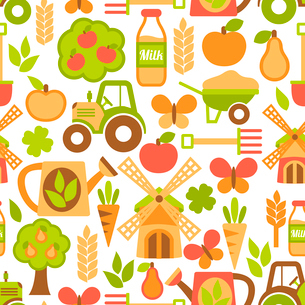 Farming harvesting and agriculture seamless pattern of mill tractor wheelbarrow and spade vector illのイラスト素材 [FYI03091684]