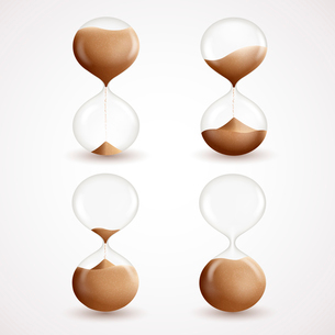 Realistic 3d hourglass clock timer sand grain icons set isolated vector illustrationのイラスト素材 [FYI03091685]