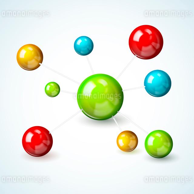 3d scientific molecule model concept with colored atoms vector illustrationのイラスト素材 [FYI03091688]