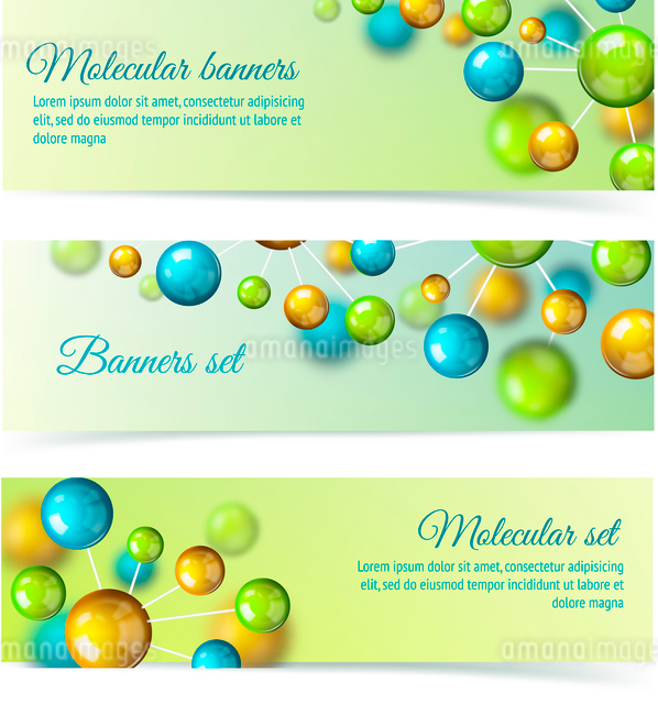 Colored 3d chemistry atomic structure molecule model banner set vector illustrationのイラスト素材 [FYI03091689]