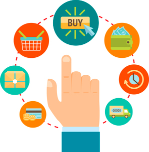 Business hand touching buy button, online internet shopping concept vector illustrationのイラスト素材 [FYI03091690]