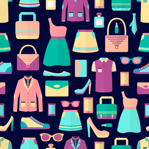 Male and female fashion stylish casual shopping accessory seamless pattern vector illustrationのイラスト素材 [FYI03091693]