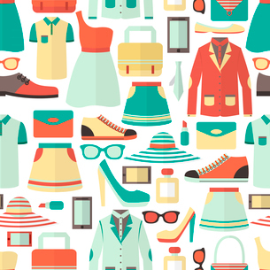 Male and female clothes footwear cosmetics and gadgets shopping seamless pattern vector illustrationのイラスト素材 [FYI03091695]