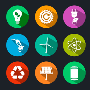 Flat energy and ecology icons set with light bulb nuclear power and gas station decorative elementsのイラスト素材 [FYI03091697]