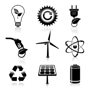Black energy and ecology icons set with light bulb gas station and solar battery decorative elementsのイラスト素材 [FYI03091698]