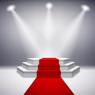 Illuminated stage podium with red carpet for award ceremony vector illustrationのイラスト素材 [FYI03091701]
