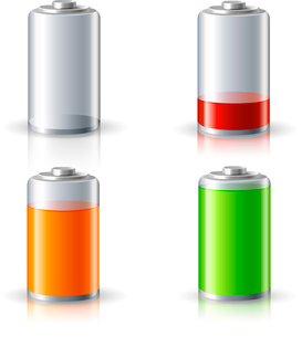 Realistic 3d battery icons set with full and low charge status energy level isolated vector illustraのイラスト素材 [FYI03091703]