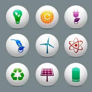 Energy and ecology buttons set with nuclear atom power solar panel and battery decorative elements iのイラスト素材 [FYI03091704]