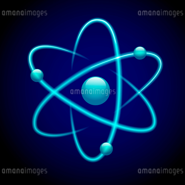 Atom 3d blue abstract nuclear structure science model symbol vector illustrationのイラスト素材 [FYI03091705]