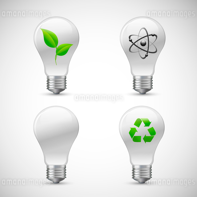 Green bio light bulbs 3d realistic icons set with leaf atom and recycling isolated vector illustratiのイラスト素材 [FYI03091706]