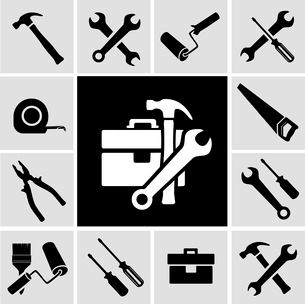 A collection of black house maintenance or renovation working tools isolated icons set of hammer wreのイラスト素材 [FYI03091708]