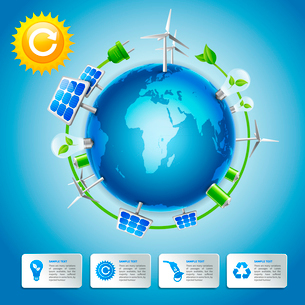 Clean energy and green life around the globe business concept with decorative power elements vectorのイラスト素材 [FYI03091709]